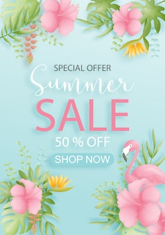 Colorful and vibrant tropical summer sale background design with bird, palm leaves and flowers.