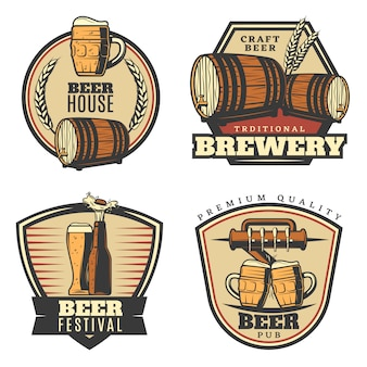 Colorful vintage brewing emblems set