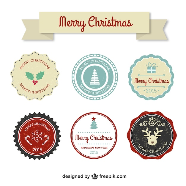 Colorful vintage christmas badges