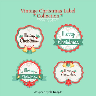 Красочная коллекция старинных рождественских наклеек