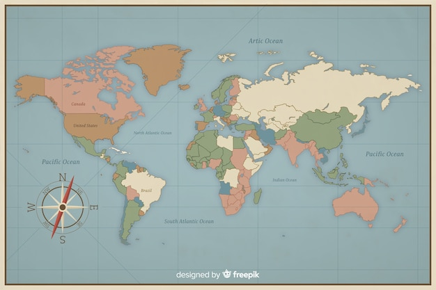 Colorful vintage design for world map