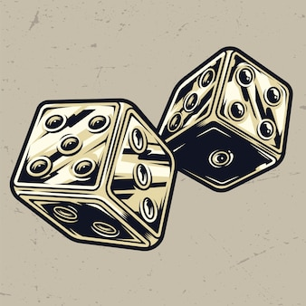 Colorful vintage dice concept