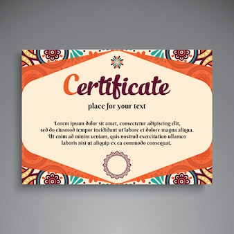 Colorful vintage ethnic certificate template