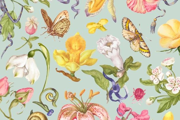 녹색 배경에 화려한 빈티지 꽃 패턴