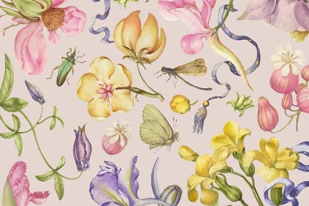ピンクの背景にカラフルなヴィンテージの花柄のベクトル、ピエールジョセフredoutéのアートワークからリミックス