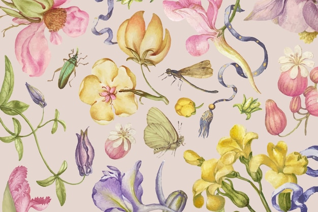 Colorful vintage floral pattern vector on pink background, remixed from artworks by pierre-joseph redouté