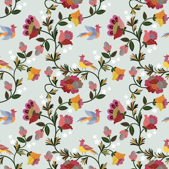 Colorful vintage flowers design seamless pattern.