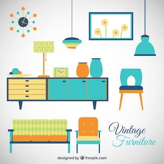 Colorful vintage furniture