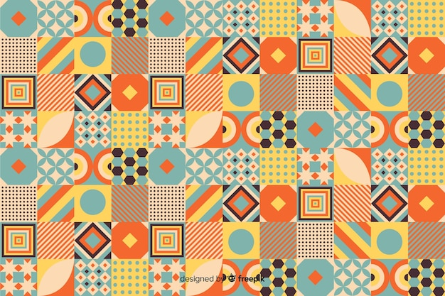 Colorful vintage geometric mosaic background