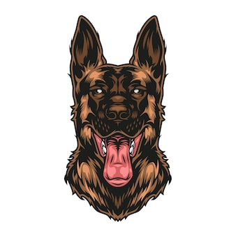Colorful vintage german shepherd dog with sticking out tongue isolated illustration