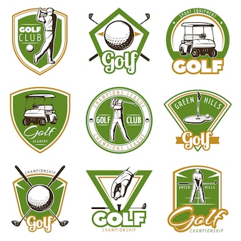 Colorful vintage golf badges