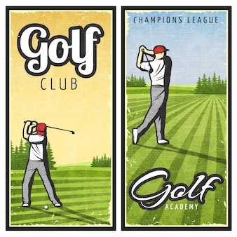 Colorful vintage golf banners