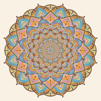 Colorful vintage mandala art
