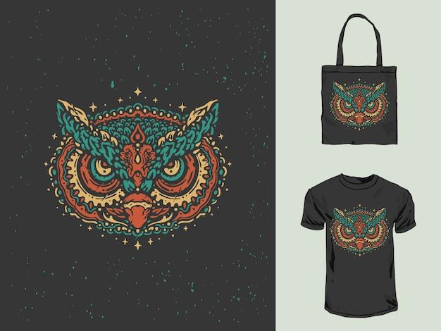 Colorful vintage owl mandala hand drawn
