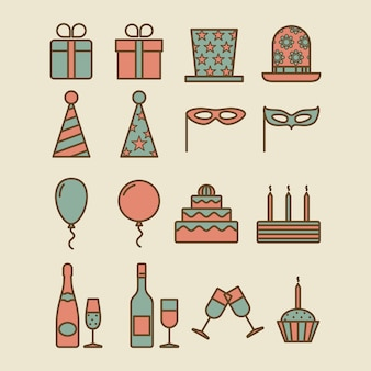 Colorful vintage party icons