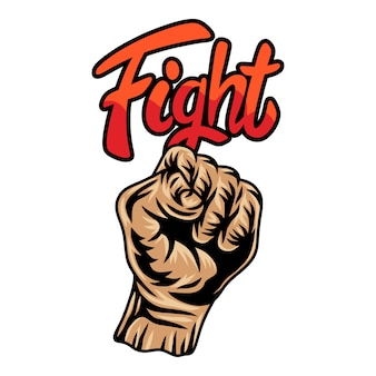 Colorful vintage retro human fist hands isolated  illustration on a white background.