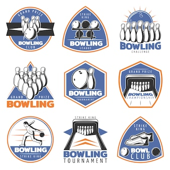 Colorful vintage sport recreation emblems set