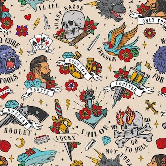 Colorful vintage tattoos seamless pattern