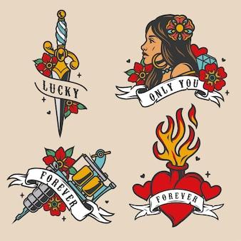 Colorful vintage tattoos set
