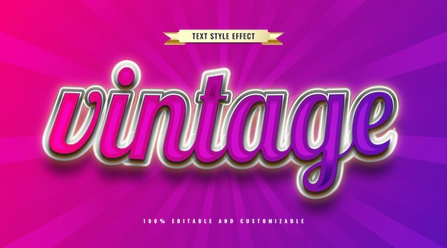 Colorful vintage text style. editable text effect