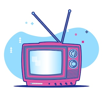 Colorful vintage tv background memphis style illustration