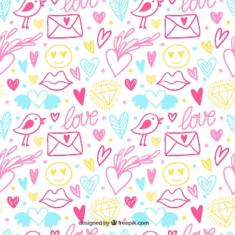 Colorful vintage of valentine sketches