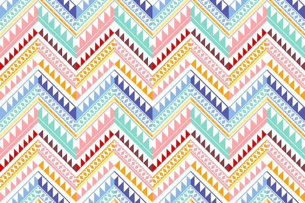 Colorful vintage zigzag ethnic geometric oriental seamless traditional pattern. design for background, carpet, wallpaper backdrop, clothing, wrapping, batik, fabric. embroidery style. vector.
