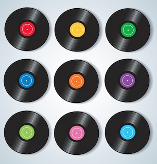 Colorful vinyl records music