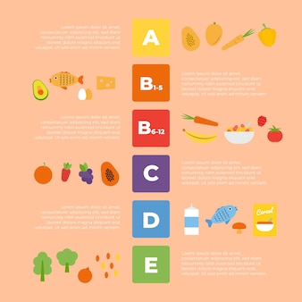 Colorful vitamin food infographic
