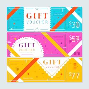 Colorful vouchers with abstract design