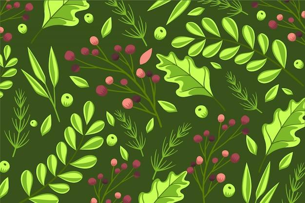 Красочные обои с цветами и листьями