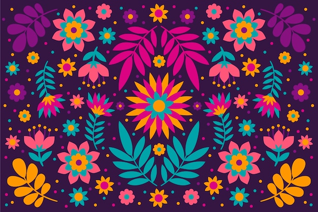 Colorful wallpaper with mexican concept