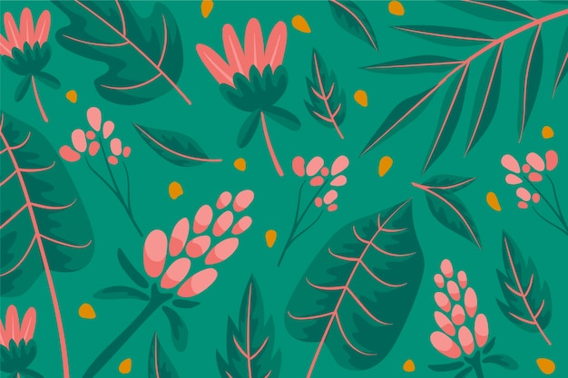 Colorful wallpaper with pink flowers and leaves