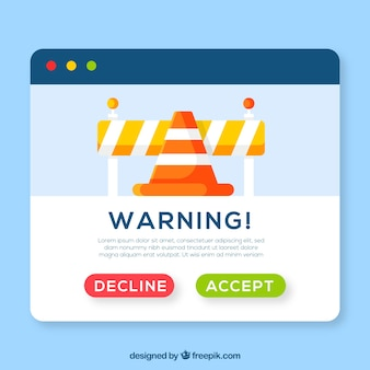 Colorful warning pop up with flat design