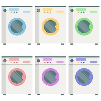 Colorful washing machine element icon game asset flat illustration
