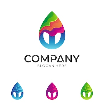 Colorful water drop + letter w logo