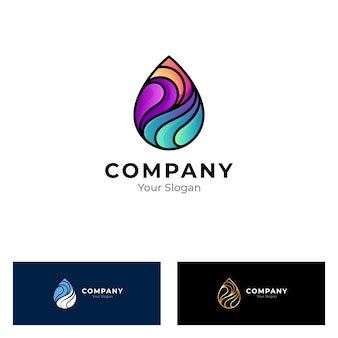 Colorful water drop logo isolated on white