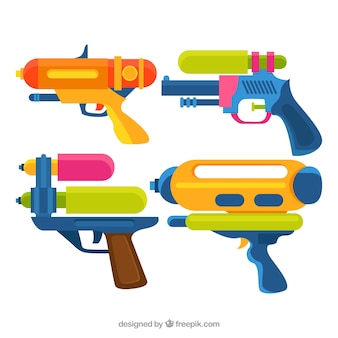 Colorful water guns collection in flat style