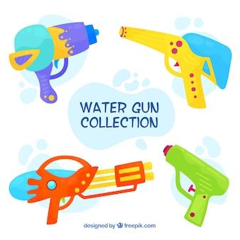 フラットスタイルのカラフルな水銃のコレクション