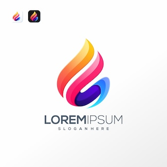 Colorful water logo template