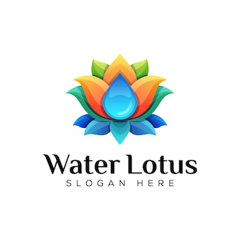 Colorful water with lotus logo concept