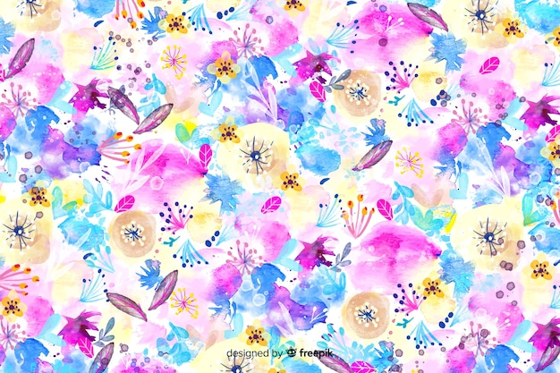 Colorful watercolor abstract floral background