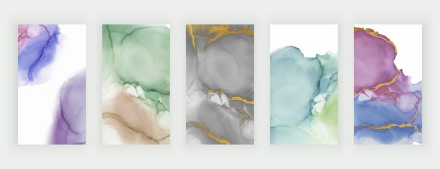 Colorful watercolor alcohol ink backgrounds for social media stories banners