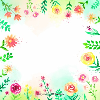 Colorful watercolor background with flowers