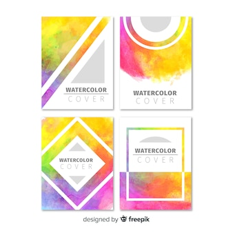 Colorful watercolor brochure template