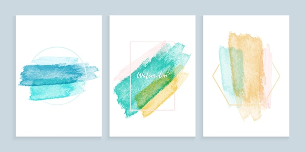 Colorful watercolor brushes strokes painted background