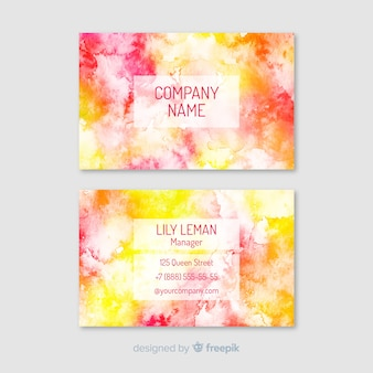 Colorful watercolor business card template