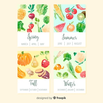 Colorful watercolor calendar of seasonal vegetables and fruits