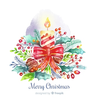 Colorful watercolor candle christmas background