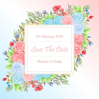 Colorful watercolor card template with gorgeous flowers